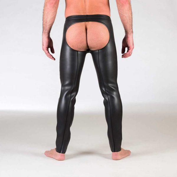 Neoprene Broek - Open Ass Pants - Zwart achterkant 2