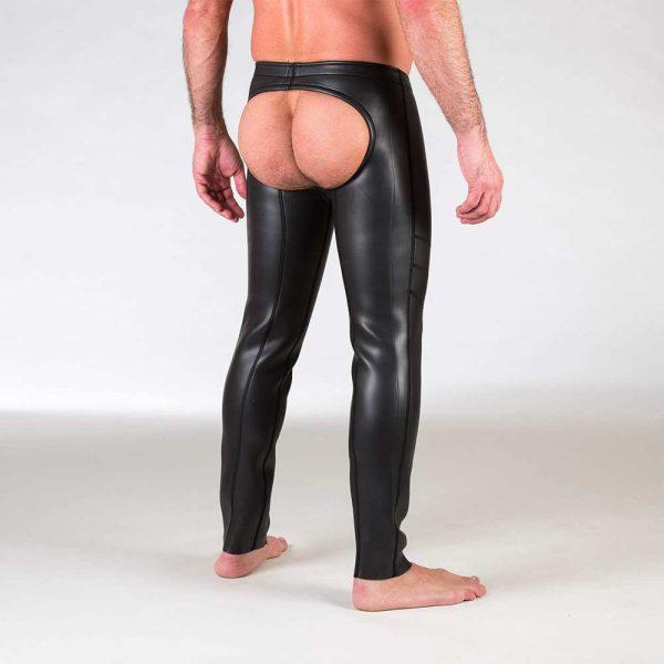 Neoprene Broek - Open Ass Pants - Zwart achterkant