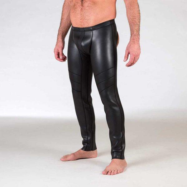 Neoprene Broek - Open Ass Pants - Zwart voorkant