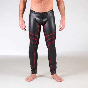 Neoprene Broek - Open Ass Pants - rood voorkant 2