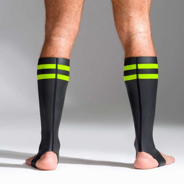 Neoprene sokken met kleurcode groen achterkant