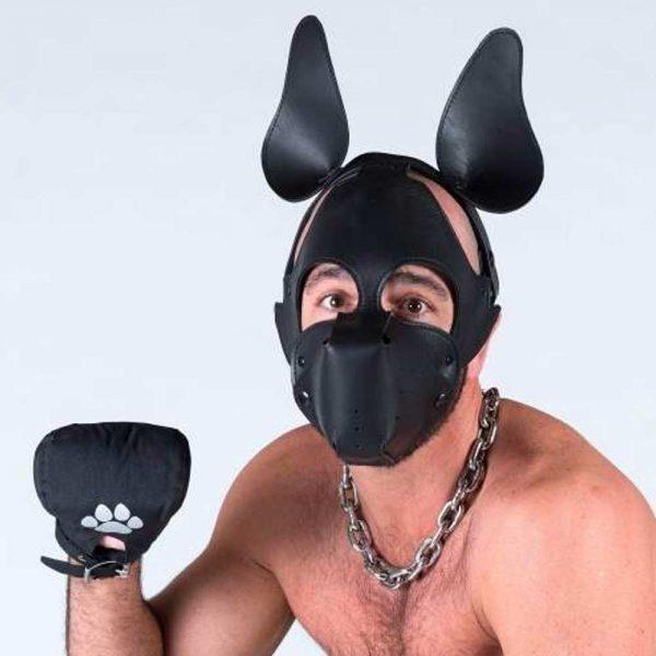 Puppy play - Leren puppy masker voorkant met poot